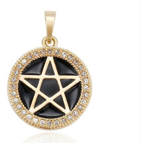 Dije Pentagrama Oro Laminado Incrustaciones De Zirconia