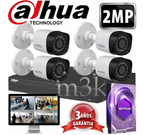 Cuotas Sin Interes! Kit Seguridad Dahua Full Hd Dvr 8 + Disco 1tb Instalado + 4 Camaras 2mp 1080p Exterior Ir + Ip