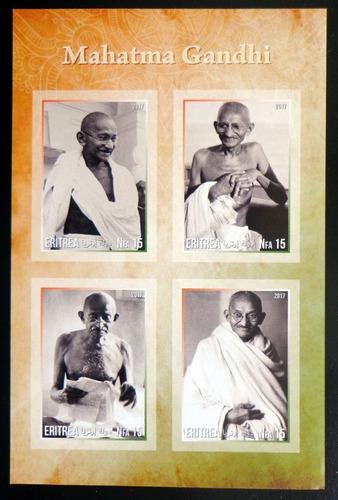 Eritrea Gandhi, Bloque 4 Sellos S Dentar 2017 Mint L10015