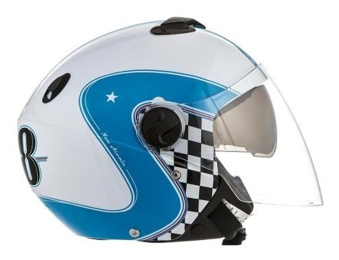Capacete Moto Custom New Atomic Vintage Branco Azul Tork