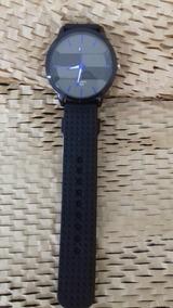 Relógio Quartz Masculino, Preto Com Detalhe Azul, Cod 00366
