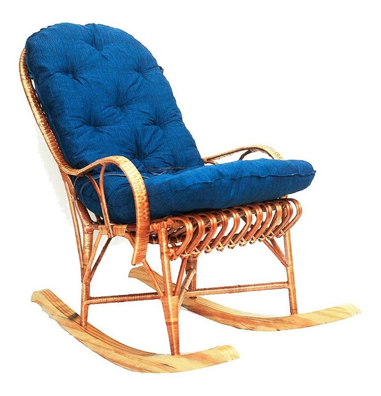 Cadeira Balanço Em Vime Com Almofada Ideal Para Relaxar