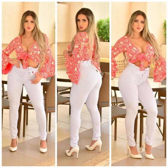 Calça Jeans Feminina Cintura Alta Babado Levanta Bumbum