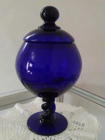 Bomboniere Ou Compoteira Em Vidro Azul Cobalto