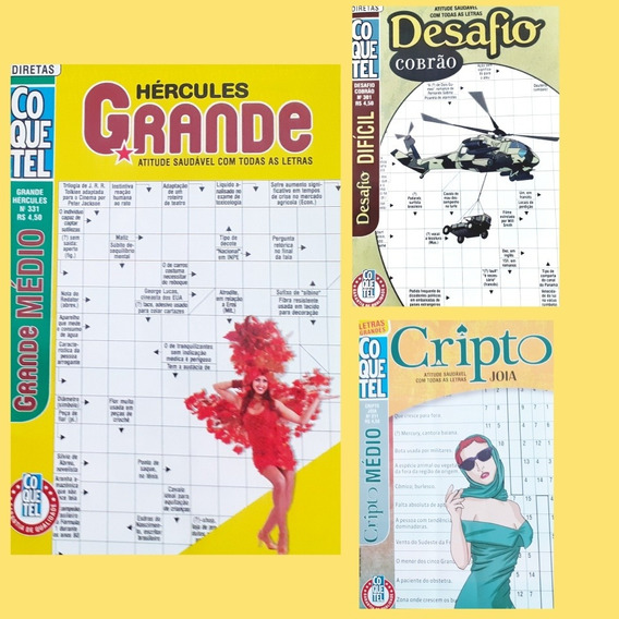 Kit Revenda 100 Cruzadas/ Cripto (médio/ Difícil) Coquetel
