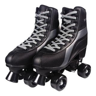 Patins 4 Rodas Clássico Preto Menino 34/39 Roller Skate