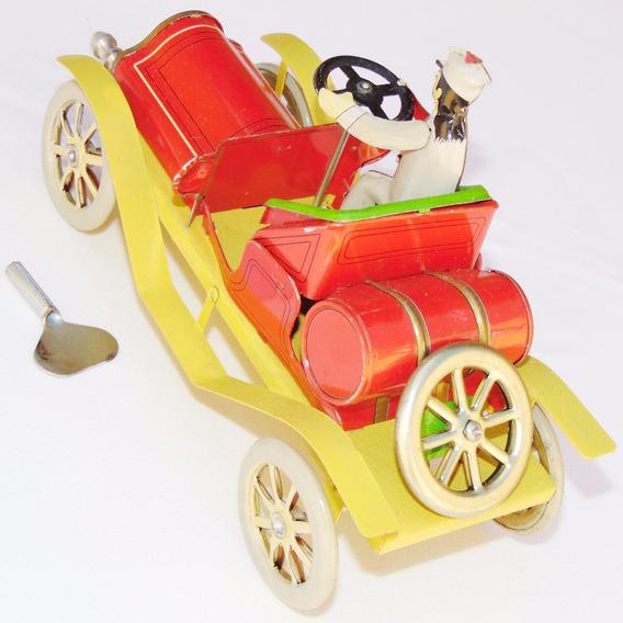 Antigo Carro Carrinho De Lata Automóvel Calhambeque De Corda