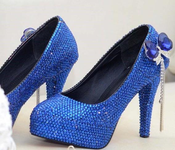 Sapato Azul Strass Cristal Festas Balada Noiva Salto 11 Cm