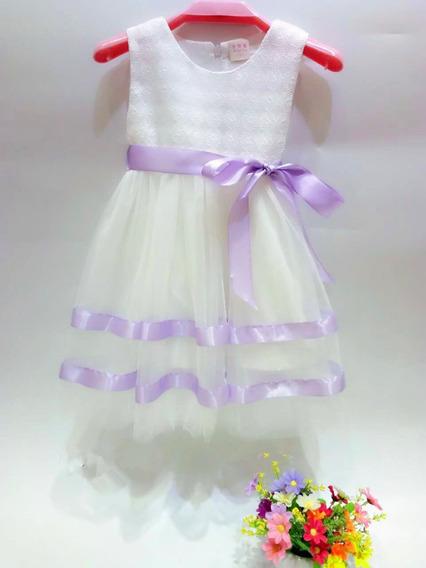 Vestido Importado De Nena Con Tull Y Cinta Talle 2a6 C1205
