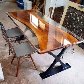 Resina Epoxi Cristal Média: Mesa Madeira River Table 2,90 Kg