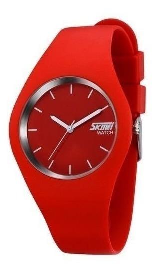 Relógio Feminino Skmei Analógico 9068 Vermelho Frete Gratis