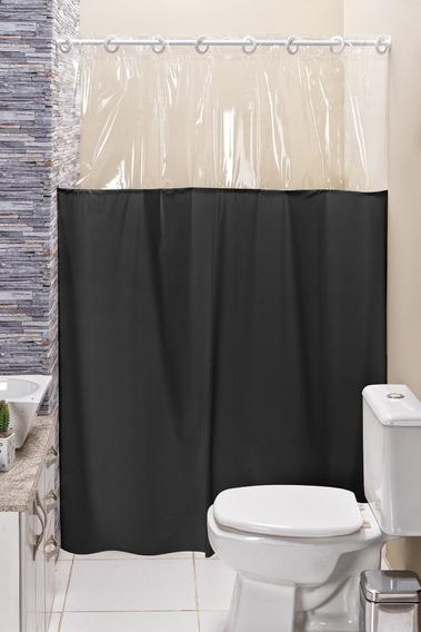 Cortina Box Banheiro Lisa C/ Detalhe Transparente Em Pvc