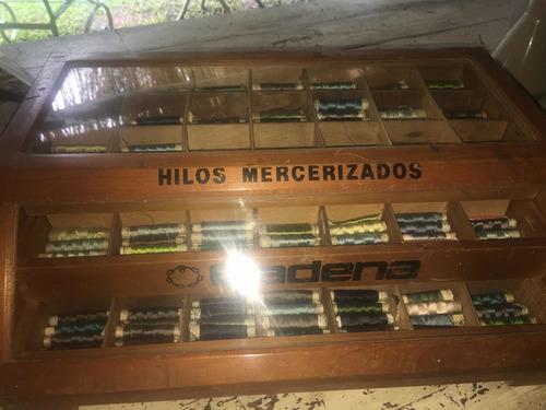 Exhibidor Antiguo Hilos Mercería Costurero Mueble Cajones