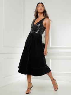 Saia Feminina Jeans Midi Black Rodada Botões Evangélica Moda