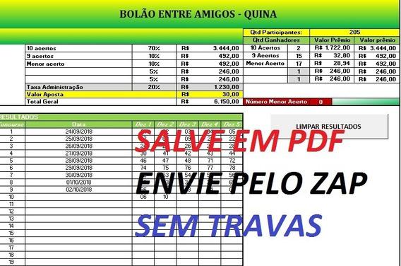 Bolão Amigos - Loteria! Planilha Em Excel (quina, Mega Sena)