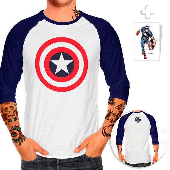 Playera Raglan Capitán América Escudo + Sticker