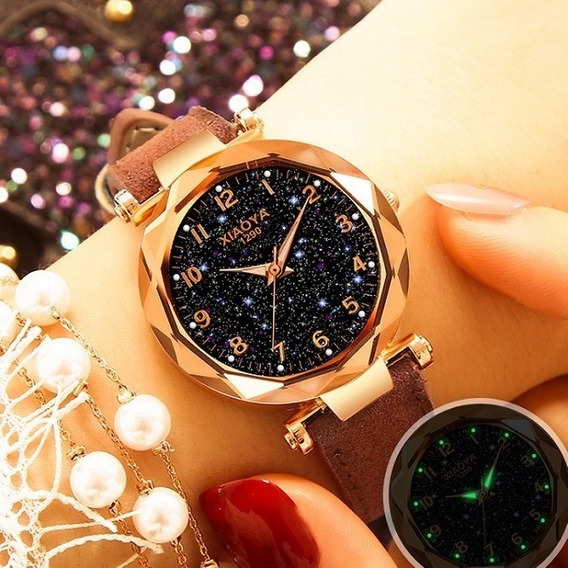 Relógio Feminino Céu Estrelado Luxo Xy1290 + Brinde Pulseira