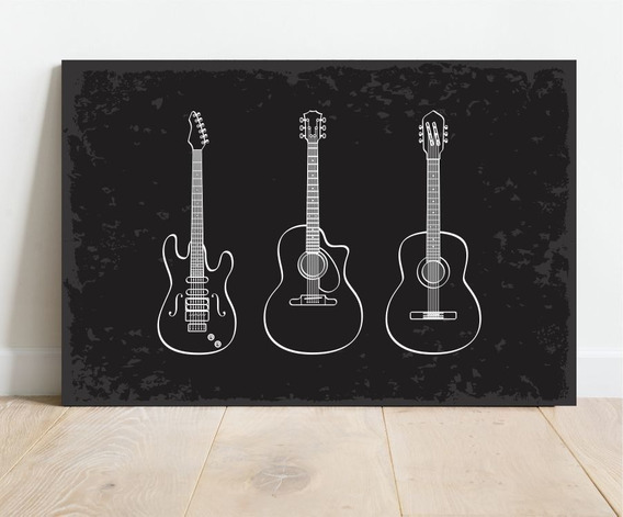 Placa Para Decoração De Ambiente Rock Guitarras 30x40cm Mdf