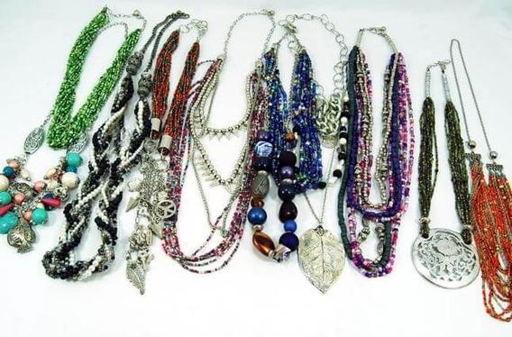 10 Collares Largos De Diseño - Surtido De Colores