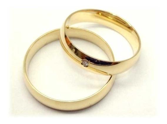 Par De Alianças Ouro 18k 4 Gramas + Diamante