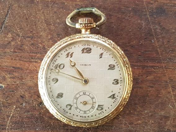 Relógio Americano Odeon De Bolso Máquina Suíça - Funcionando