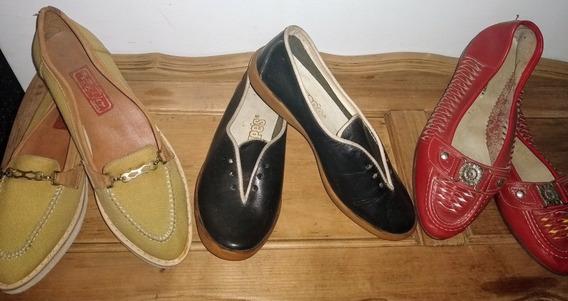 Lote De Zapatos Mujer Chatitas Vintage Nuevo Antiguo