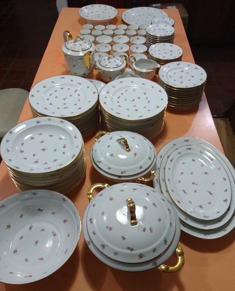 Juego Porcelana Limoges Francia Antiguo Con Rosas Y Oro