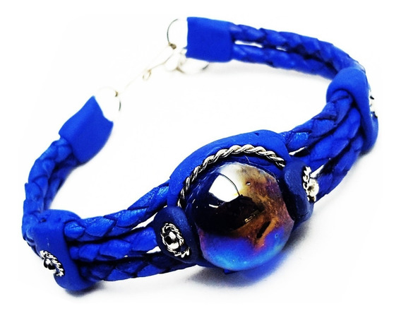 Pulseira Couro Pedra Gota Azul Bracelete Hippie Artesanal