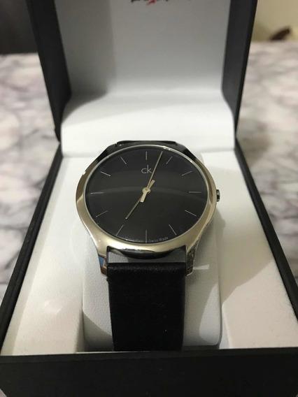 Reloj Calvin Klein, Reloj Minimalista Correa Negra, B: Plata