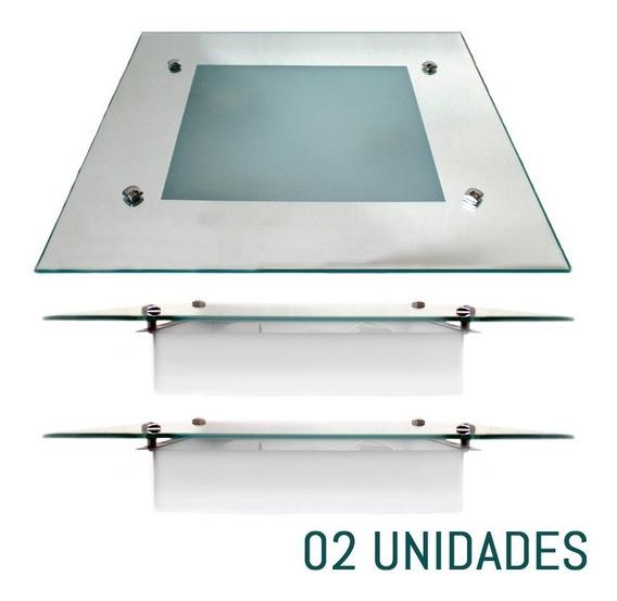 Kit Com 2 Plafons Sobrepor Quadrado Vidro Espelhado 30x30cm