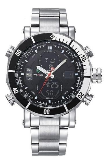 Relógio Masculino Weide Wh-5203 Anadigi Prata E Preto Com Nf