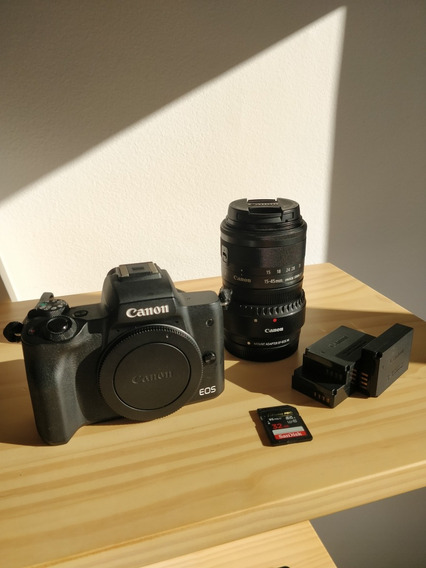 Canon Eos M50 C/ 15-45mm + Adp Ef/ef-s + 3 Baterias + 32gb