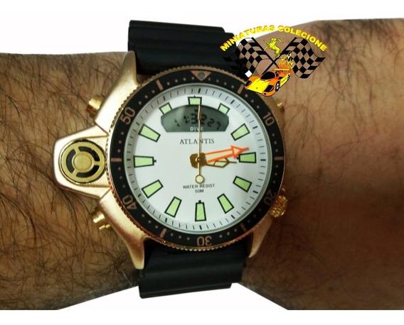 Relógio Masc Atlantis G3220 Aqualand Jp2000 Fundo Branc Peq.