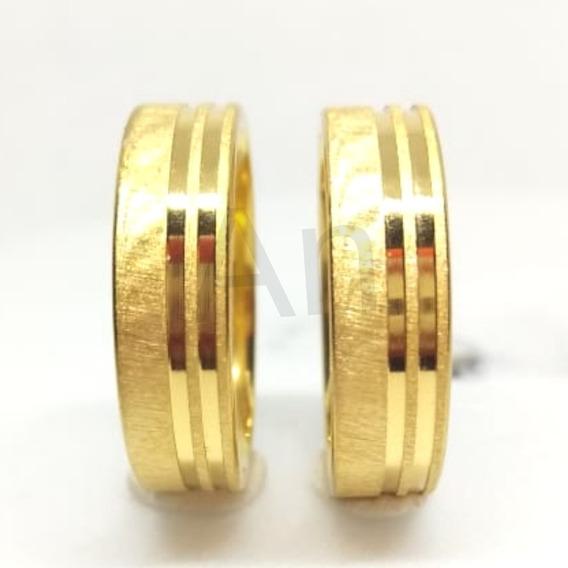 2 Alianças Casamento Noivado Banhada Ouro 18k - Grátis Caixa