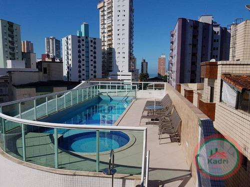 Apartamento Com 2 Dormitórios À Venda, 65 M² Por R$ 350.000,00 - Vila Guilhermina - Praia Grande/sp - Ap1587
