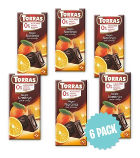 Chocolate Sin Azúcar Negro C/naranja Torras Barra 75g(6pack)