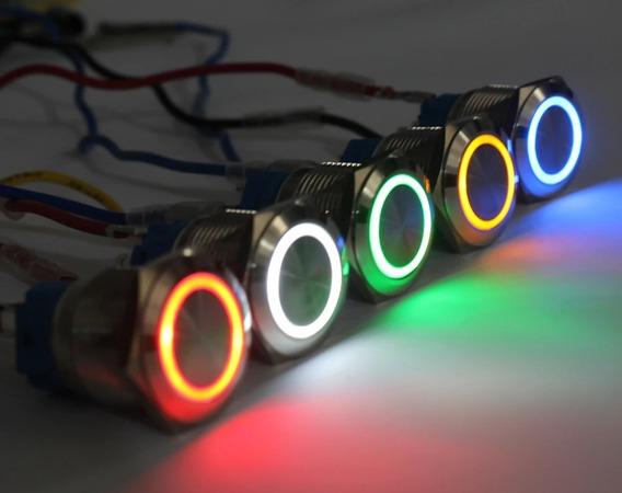 Botão Metal Luminoso 19 Mm Dc12 V Pulso Ou Trava (escolher)