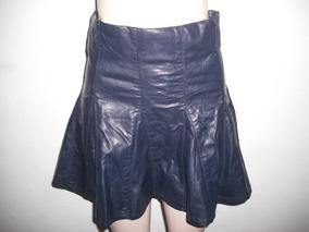 Shorts Saia Azul Couro Sintetico Veste P E M Conf Medidas