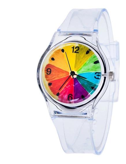 Reloj Silicon Fondo Arcoiris Transparente