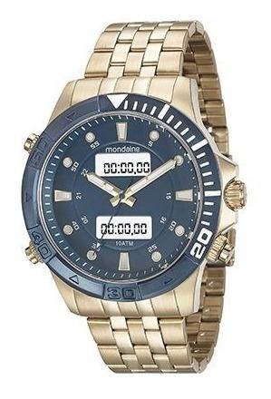 Relógio Mondaine Anadigi Dourado Fundo Azul 99082 Gpmvla1