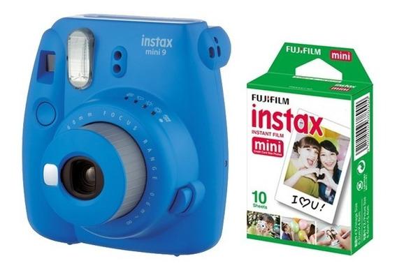 Cámara Fujifilm Instax Mini 9 Cobalt Blue+pack 10 Películas