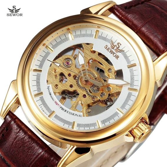 Relógio Sewor,a Corda,feminino,pulseira Couro,modelo 0057