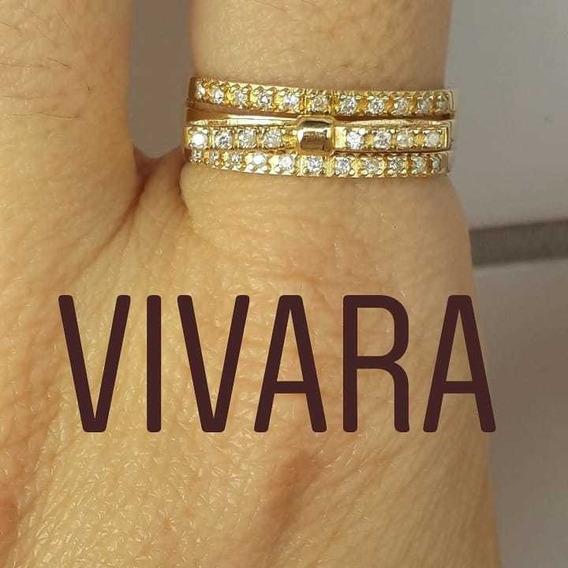 Vivara Anel Ouro 18k 750 Diamantes Aro 20 Com 4.0 Gramas