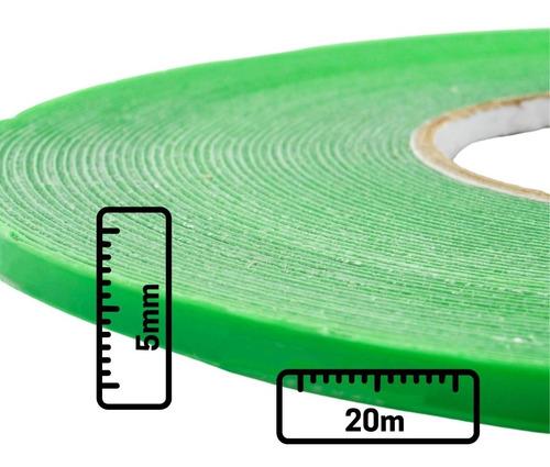 5mm Fita Dupla Face Importada Transparente Resistente 20m