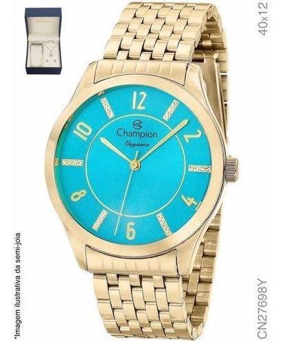 Kit Relógio Feminino Champion Cn27698y Colar E Brincos