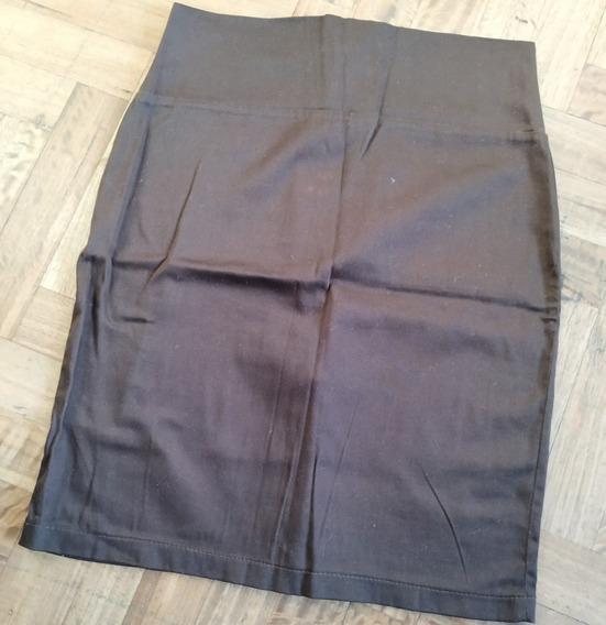 Pollera/falda De Gabardina/algodón Chocolate Como Nuevo