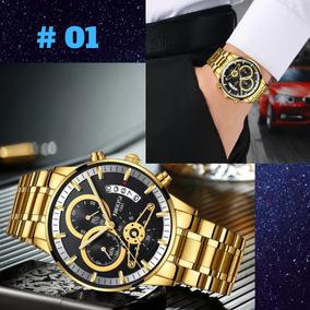 Relógio Masculino Nibosi Original Dourado Varias Cores