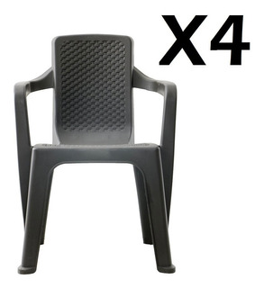 Set X 4 Sillas Eterna Rimax Con Brazos Wengue
