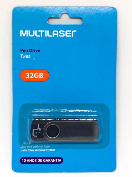 Pendrive 32gb Preto Multilaser Garantia 10 Anos Pd589