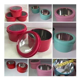 10 Latas Metal Redondas Com Visor 7,5x7,5x4cm Grande